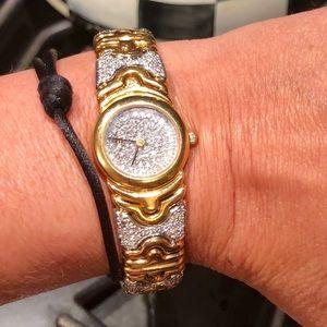 Diamond and gold watch